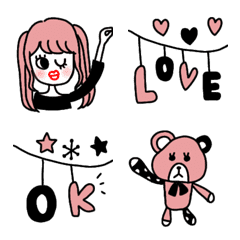 Pink & black おしゃくま 絵文字