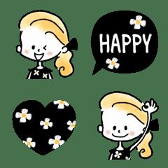 大人ガーリー♡花柄×ブラック絵文字