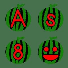まん丸スイカ アルファベット数字顔文字