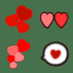 ふんわり真っ赤なハートの絵文字
