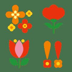 レトロポップフラワー絵文字✿カラフルお花