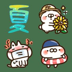 【絵文字】ねことうさぎの夏