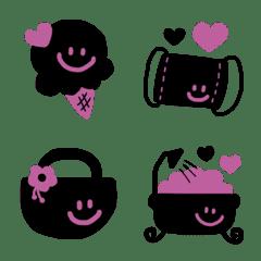 大人かわいい絵文字♥ブラック×ピンク