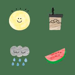 オシャレな夏の水彩線画 基本セット