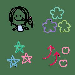 シンプルな線画絵文字♡