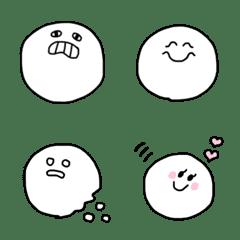 【白黒シンプル】まんまる顔絵文字2_日常用