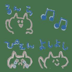 シンプル&ナチュラルなネコ絵文字(線画)
