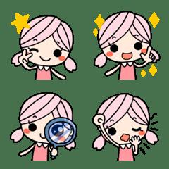 可愛い♥️ツインテールガール桃色髪絵文字