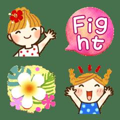 やさしい絵文字✨夏✨女の子