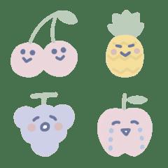 パステルカラーのフルーツ絵文字