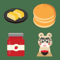 和食と洋食の朝ごはんの絵文字