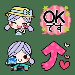ツインテールガール♥️夏ポップ元気絵文字