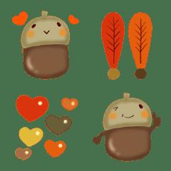 どんぐりと秋の絵文字