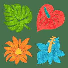◆☘南国☘葉っぱ花だらけ◆夏絵文字‼️