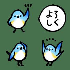 青い鳥とお花の絵文字