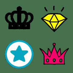 ハート&王冠&星&ダイヤのカラフルセット