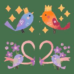 +小鳥の秋の絵文字+