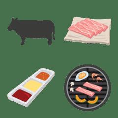 日本と韓国の焼肉絵文字