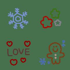 冬の線画絵文字