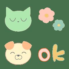 ネコといぬ(優しい色でカラフル)