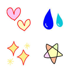 ハートと汗とキラキラと星の絵文字