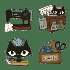 黒猫さんと糸巻ちゃん*手芸ハンドメイド