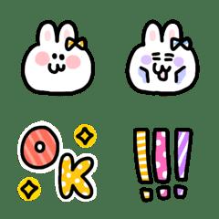 ウサギとカラフルPOP絵文字