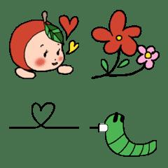 可愛いベビーりんご&あおむし 【基本】