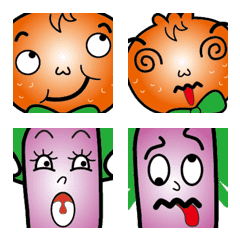 Eggplant sister and orange brother-face
