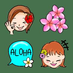 ハワイ 女の子とお花の絵文字