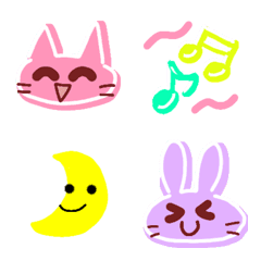 絵文字♡カラフルなうさぎとネコ♡
