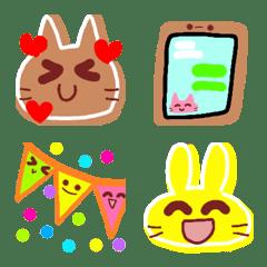 絵文字♡カラフルなうさぎとネコ③