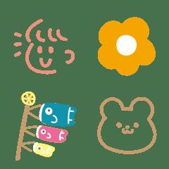春カラーの大人シンプル絵文字