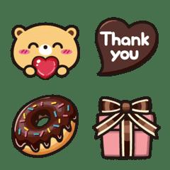 チョコ好きなクマ♥気持ちを伝える絵文字