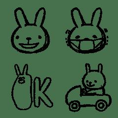 モノトーン鉛筆ウサギ