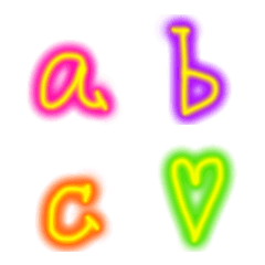 虹色カラフルな小文字アルファベット