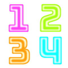 Number neon colorful classic emoji