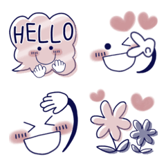 くすみピンク7♡シンプル可愛い絵文字