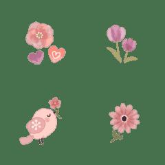 文末に♪ちょこんと可愛い♡お花と小鳥