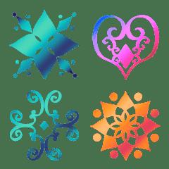 フレーム絵文字 vol.7 幾何学模様 虹色