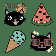 *黒ねこ*【夏】絵文字2