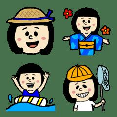 [夏]ショートおかっぱちゃん使える絵文字3