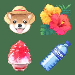 水彩の絵文字 - 夏