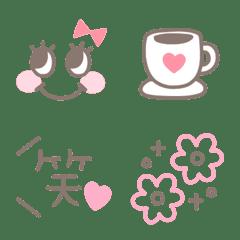 可愛い♡ブラウン×ピンク♡絵文字
