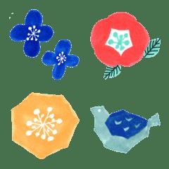 北欧風シンプル 花と木と動物たち
