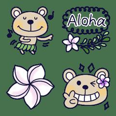 ハワイアン絵文字とおしゃかわくまちゃん