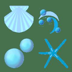 フレーム絵文字 vol.19 波と貝殻