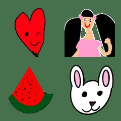 メルヘンな6歳女児が描いた果物やハート