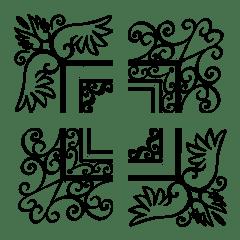 フレーム絵文字 vol.31 モノトーン羽根