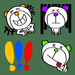 5本指の白い熊♡絵文字♡耳だけカラフル!